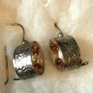 Silpada sterling silver citrine colored earrings.